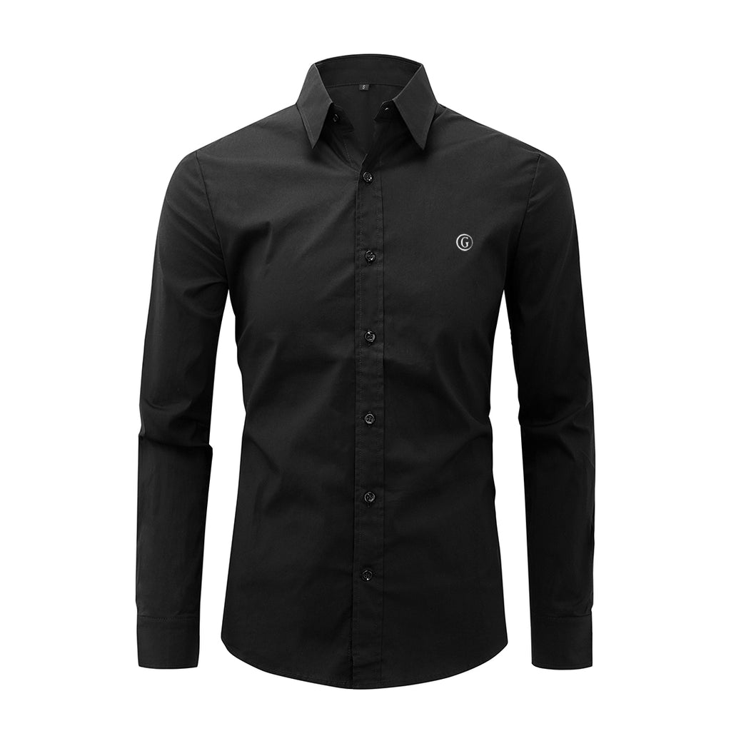 Gentoni Embroidered Plain Slim Fit Button Shirt In Black