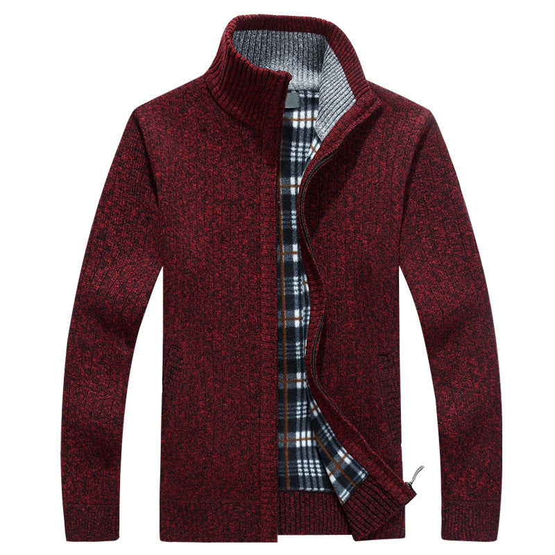 Stand Collar Sweater In Burgundy
