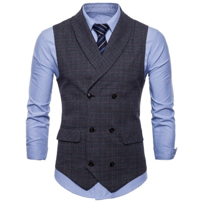 Checkered Slim Fit Vest In Dark Gray