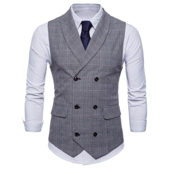 Checkered Slim Fit Vest In Light Gray
