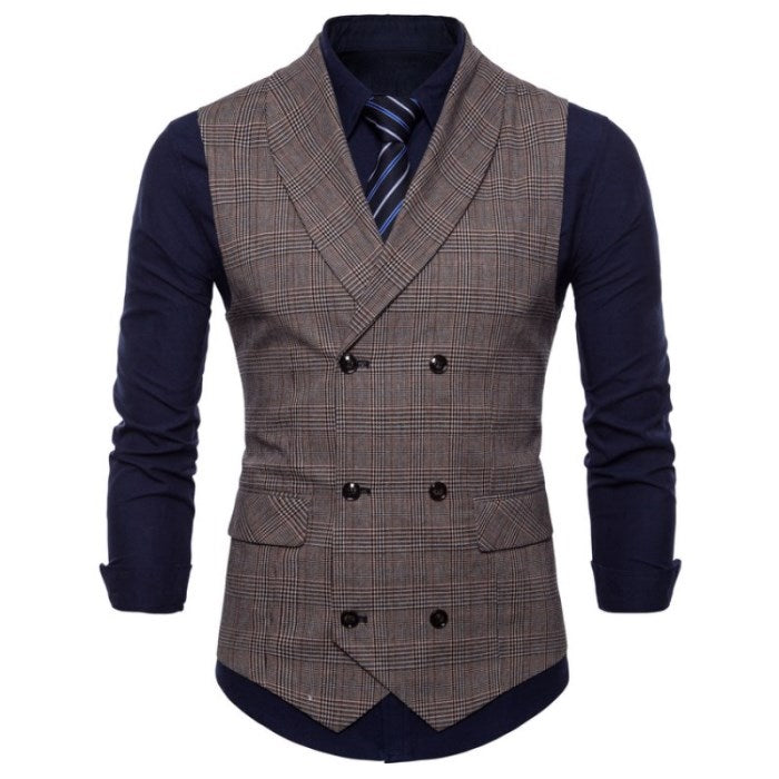 Checkered Slim Fit Vest In Brown