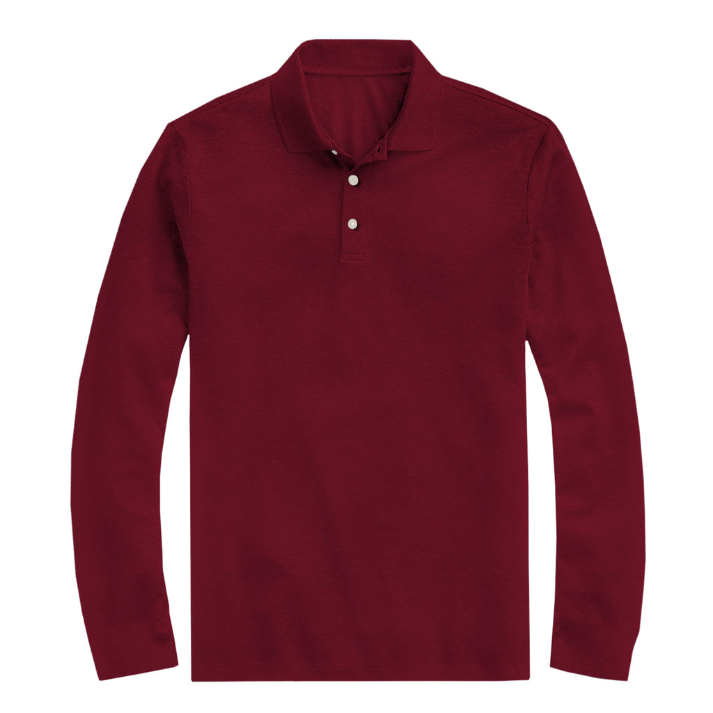 Premium Long Sleeve Polo Shirt In Red