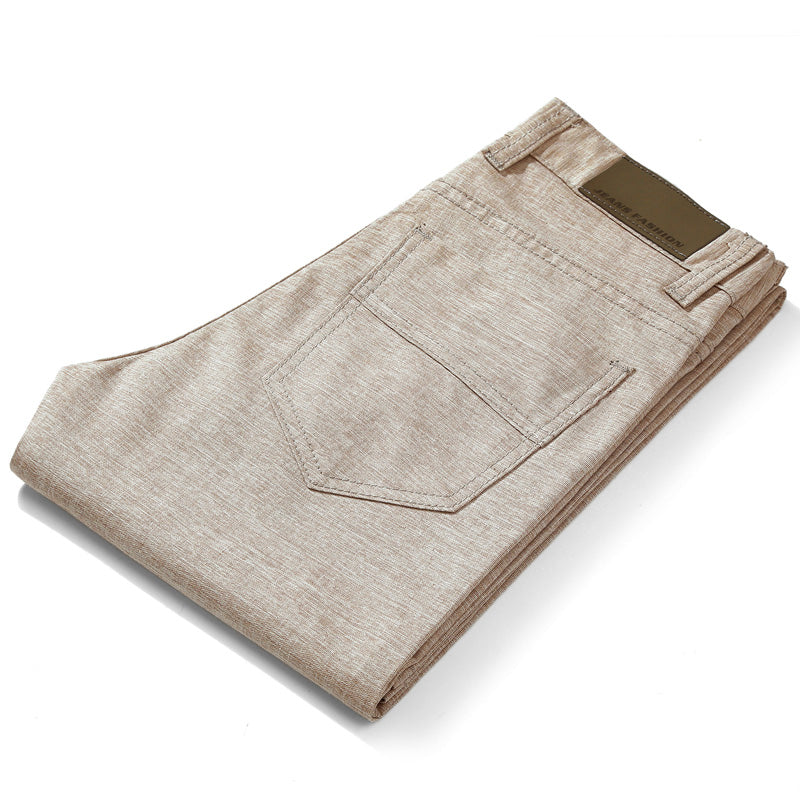 Linen Blend Pants In Khaki