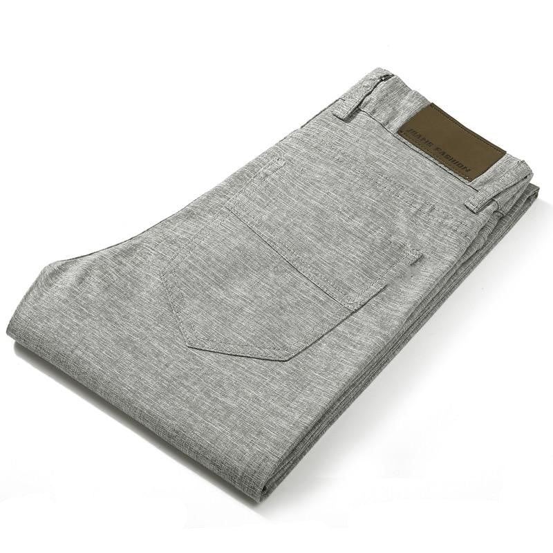 Linen Blend Pants In Gray