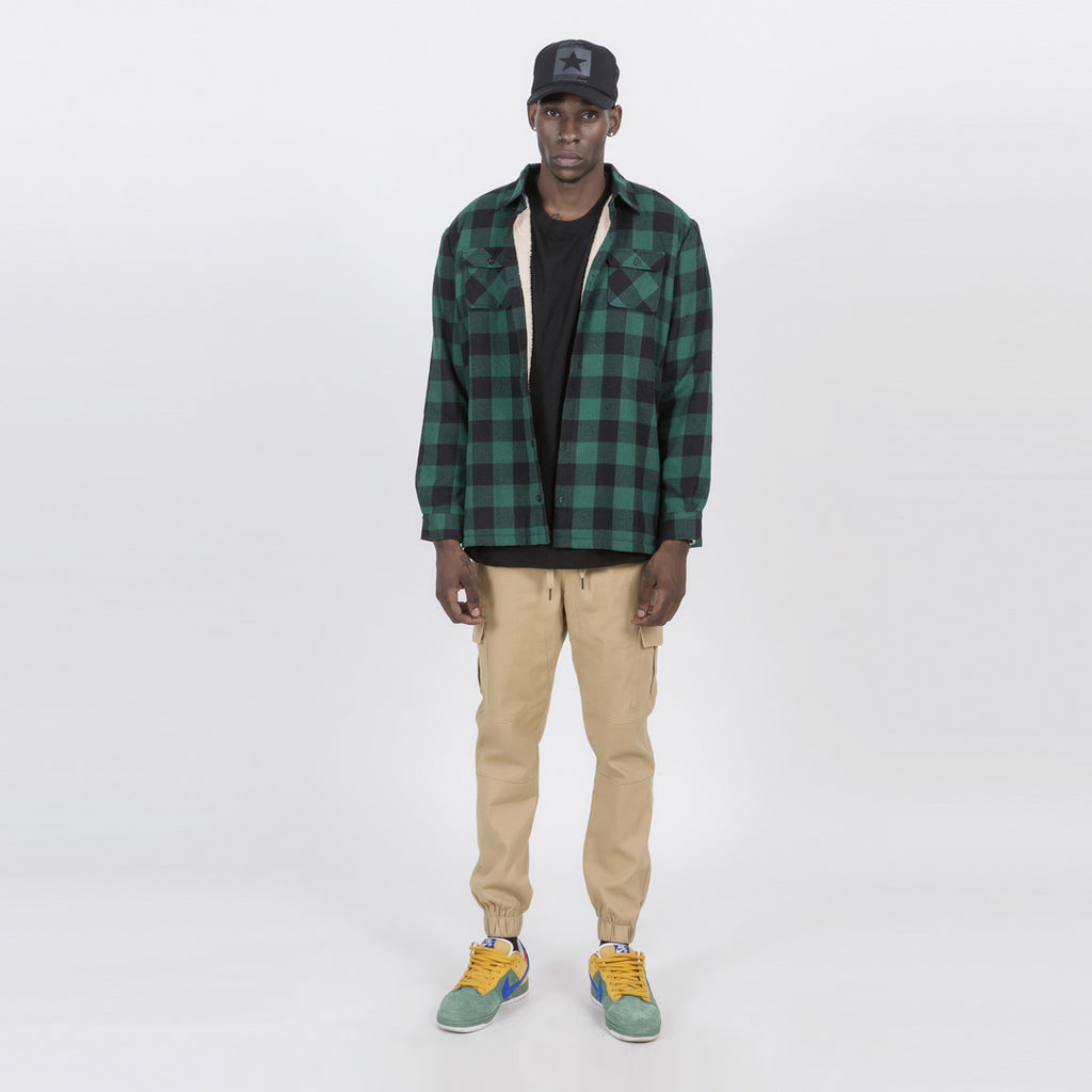 Plush Button Plaid Jacket In Green