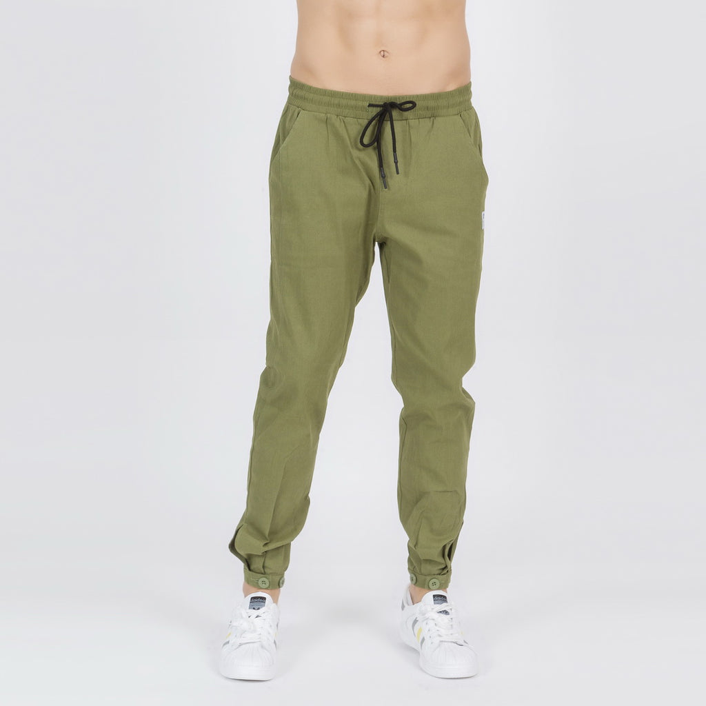 Buttoned Ankle Cuffs Casual Pants In Green