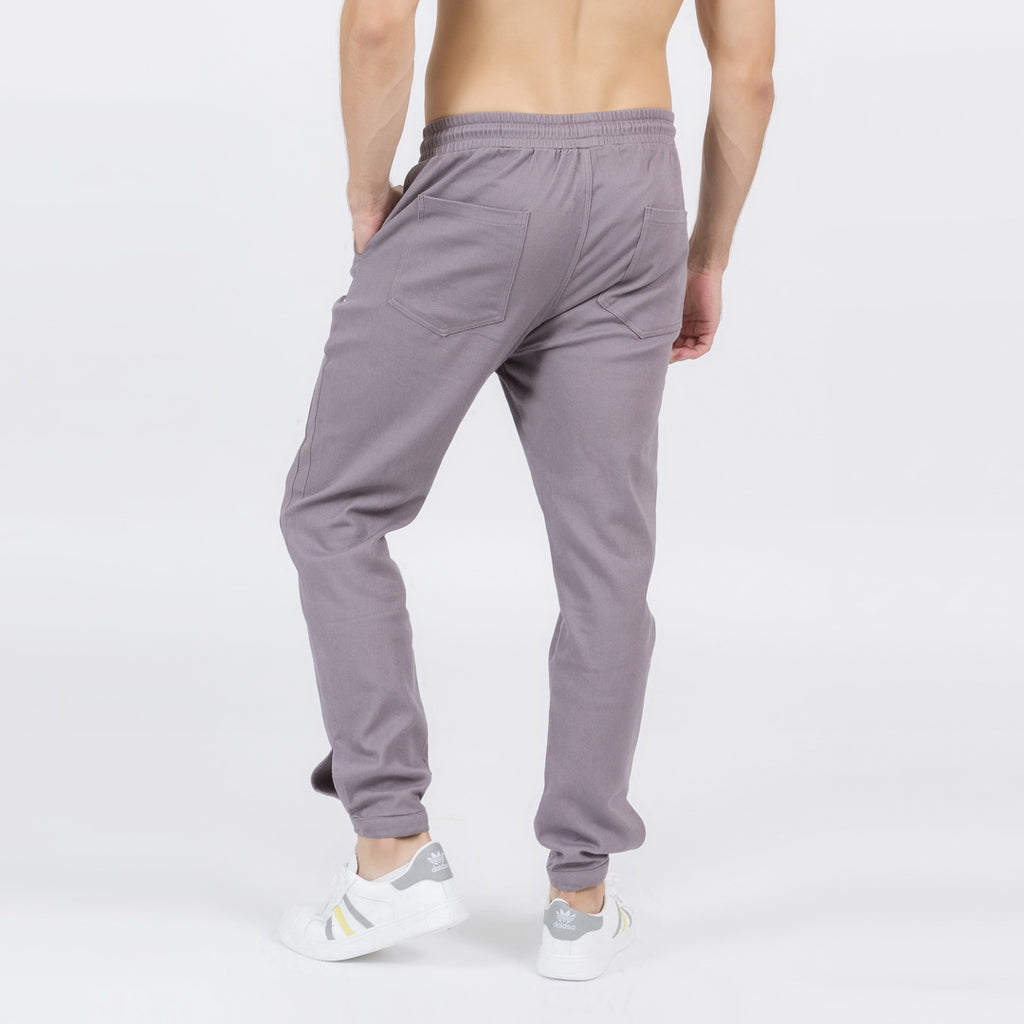 Buttoned Ankle Cuffs Casual Pants In Gray