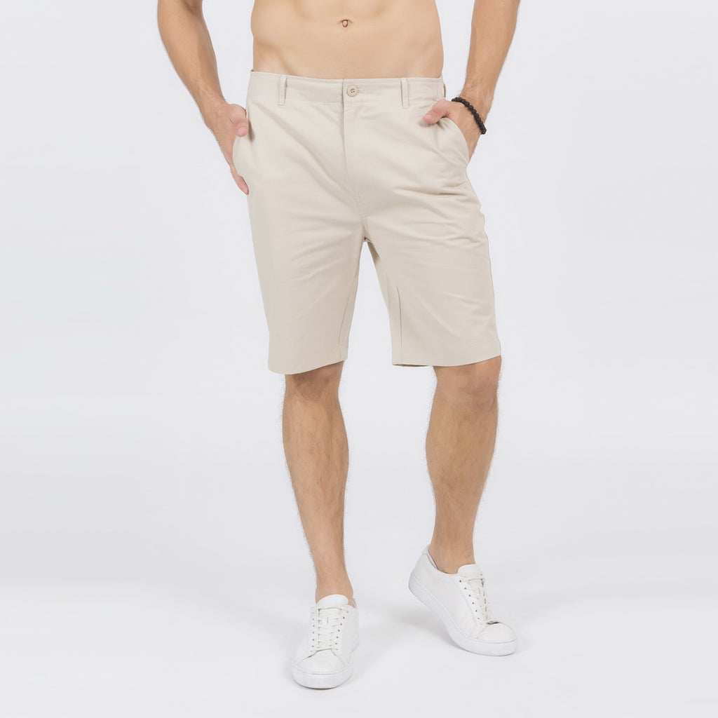 Casual Slim Chino Shorts In Khaki