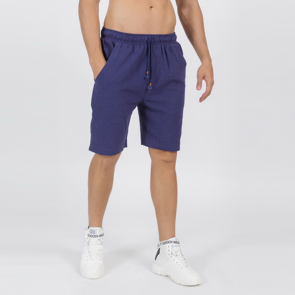 Casual Drawstring Linen Blend Shorts In Blue