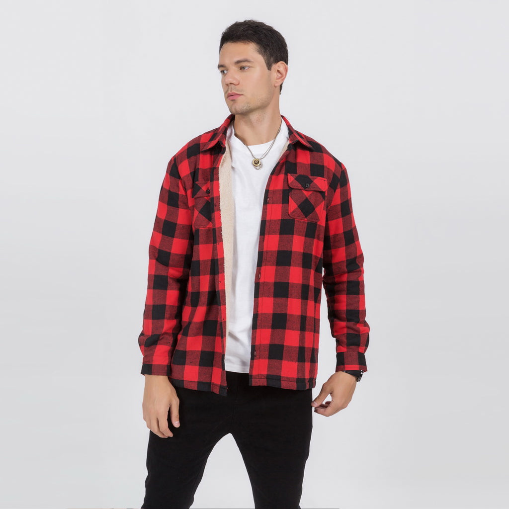 Plush Button Plaid Jacket In Red