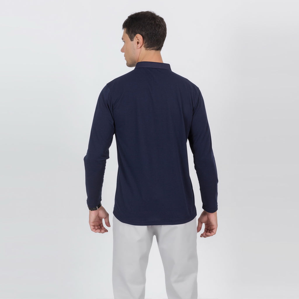 Premium Long Sleeve Polo Shirt In Navy