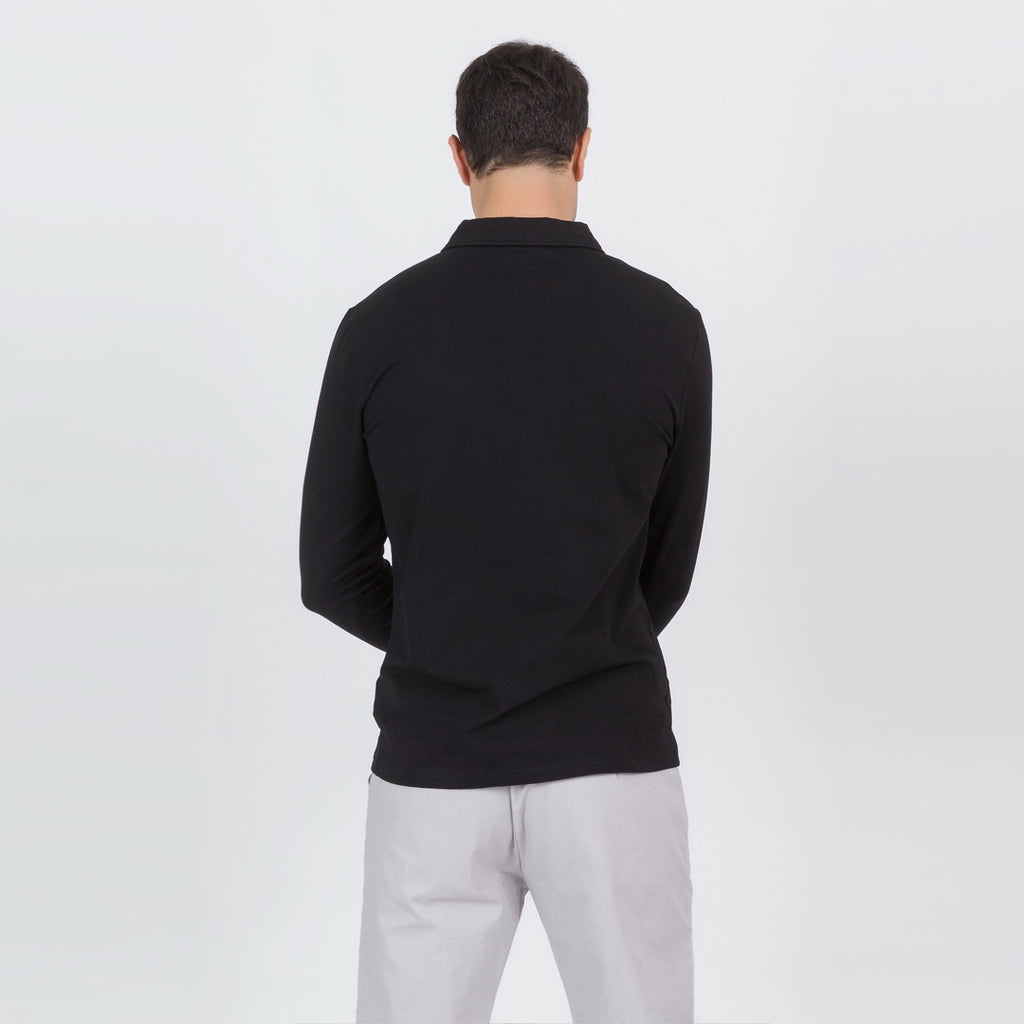 Premium Long Sleeve Polo Shirt In Black