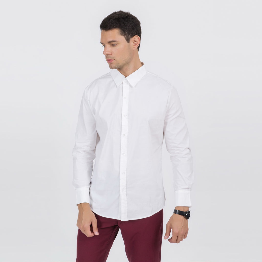 Plain Slim Fit Button Shirt In White