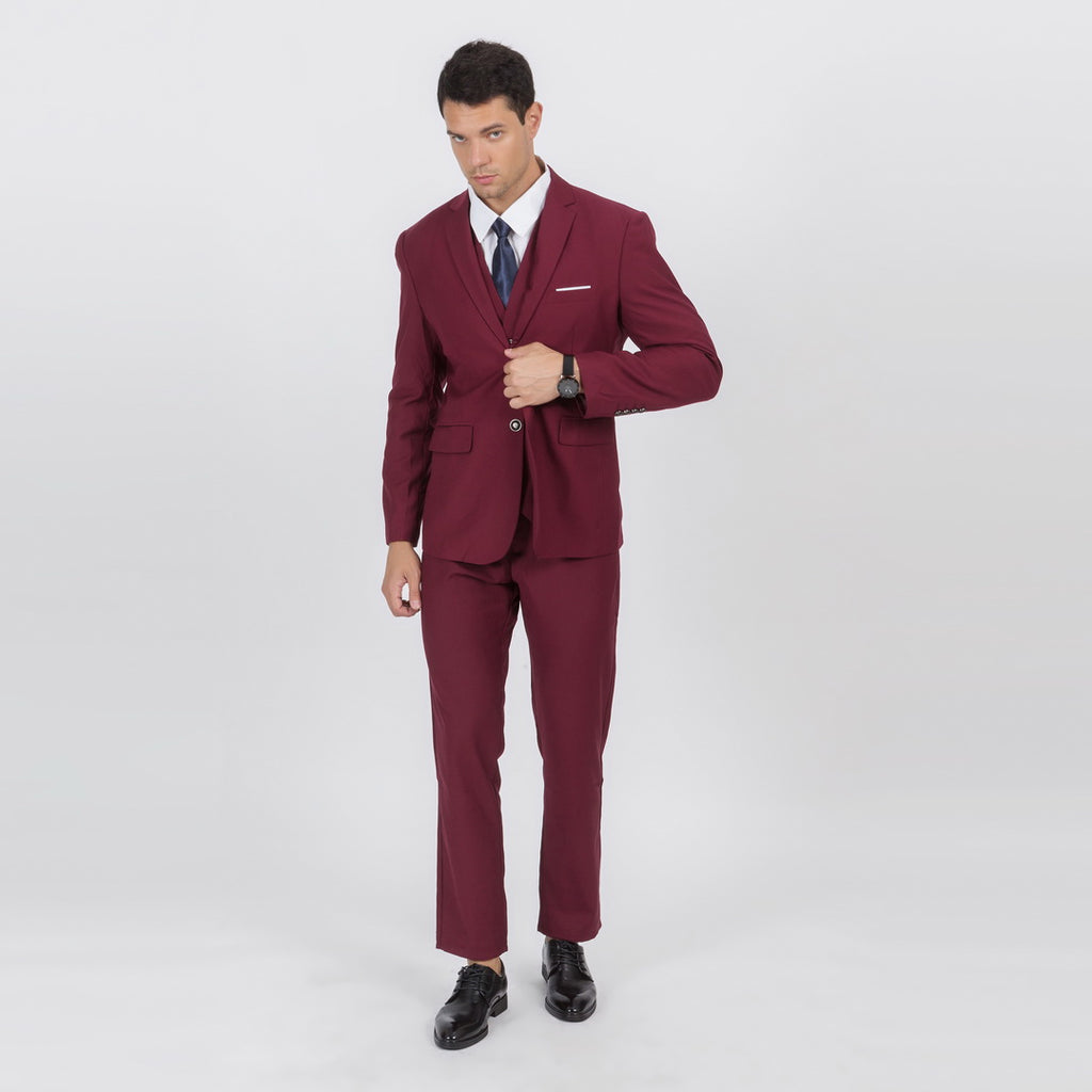 Colton Casual Suit In Wine Red
