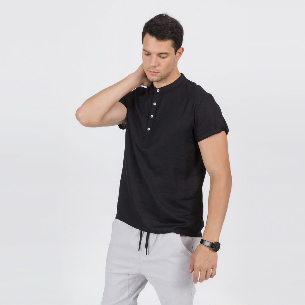 Linen Blend Soft Feel Shirt In Black