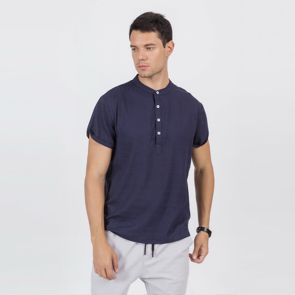 Linen Blend Soft Feel Shirt In Navy Blue