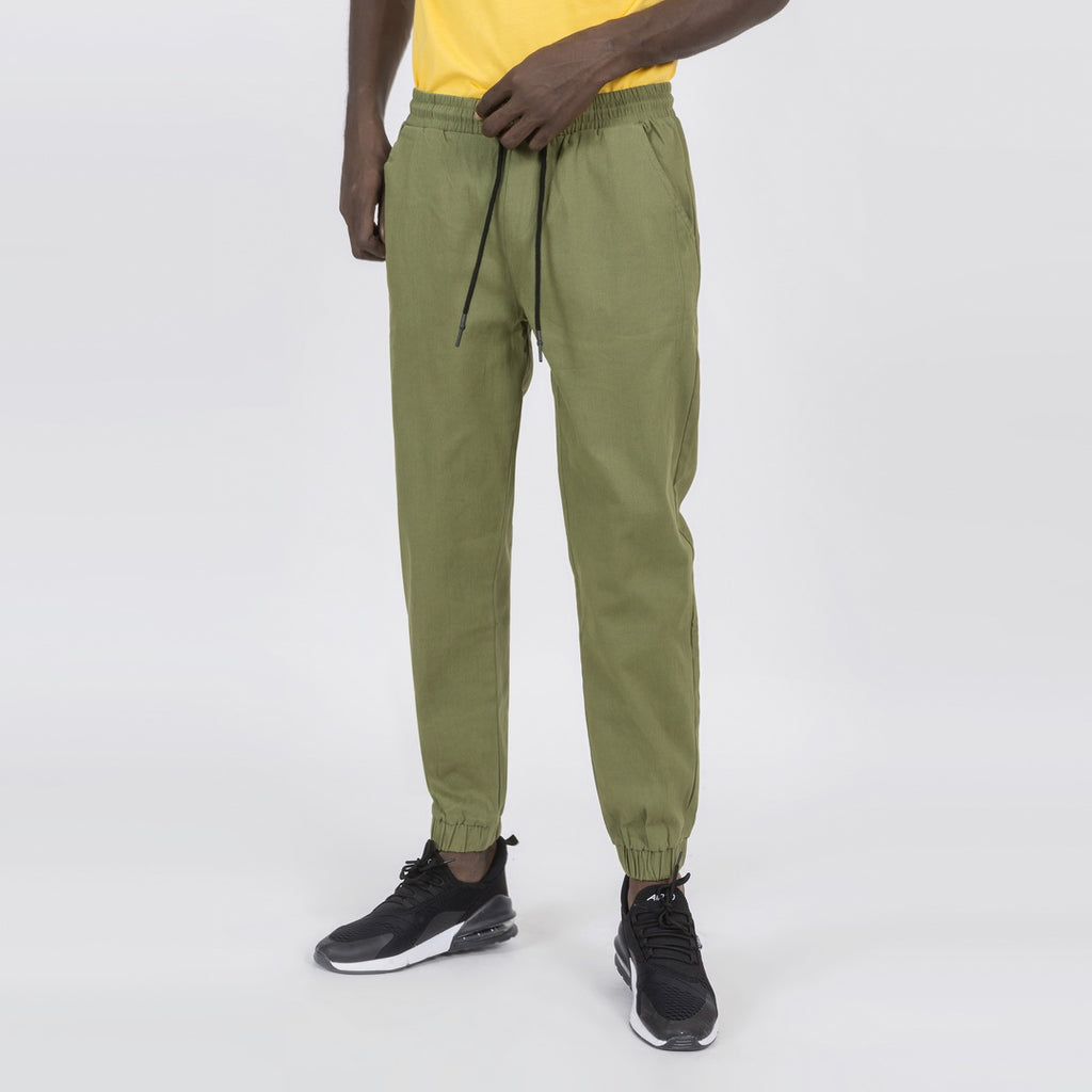 Comfortable Tapered Fit Joggers In Army Green