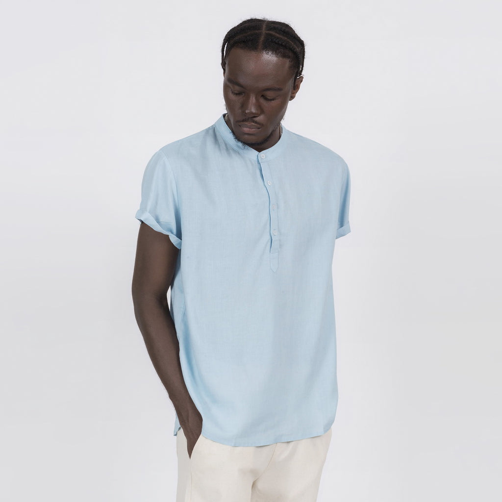 Linen Blend Soft Feel Shirt In Light Blue