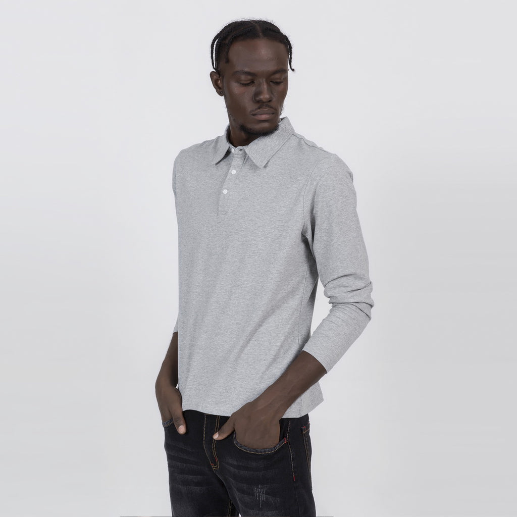 Premium Long Sleeve Polo Shirt In Gray