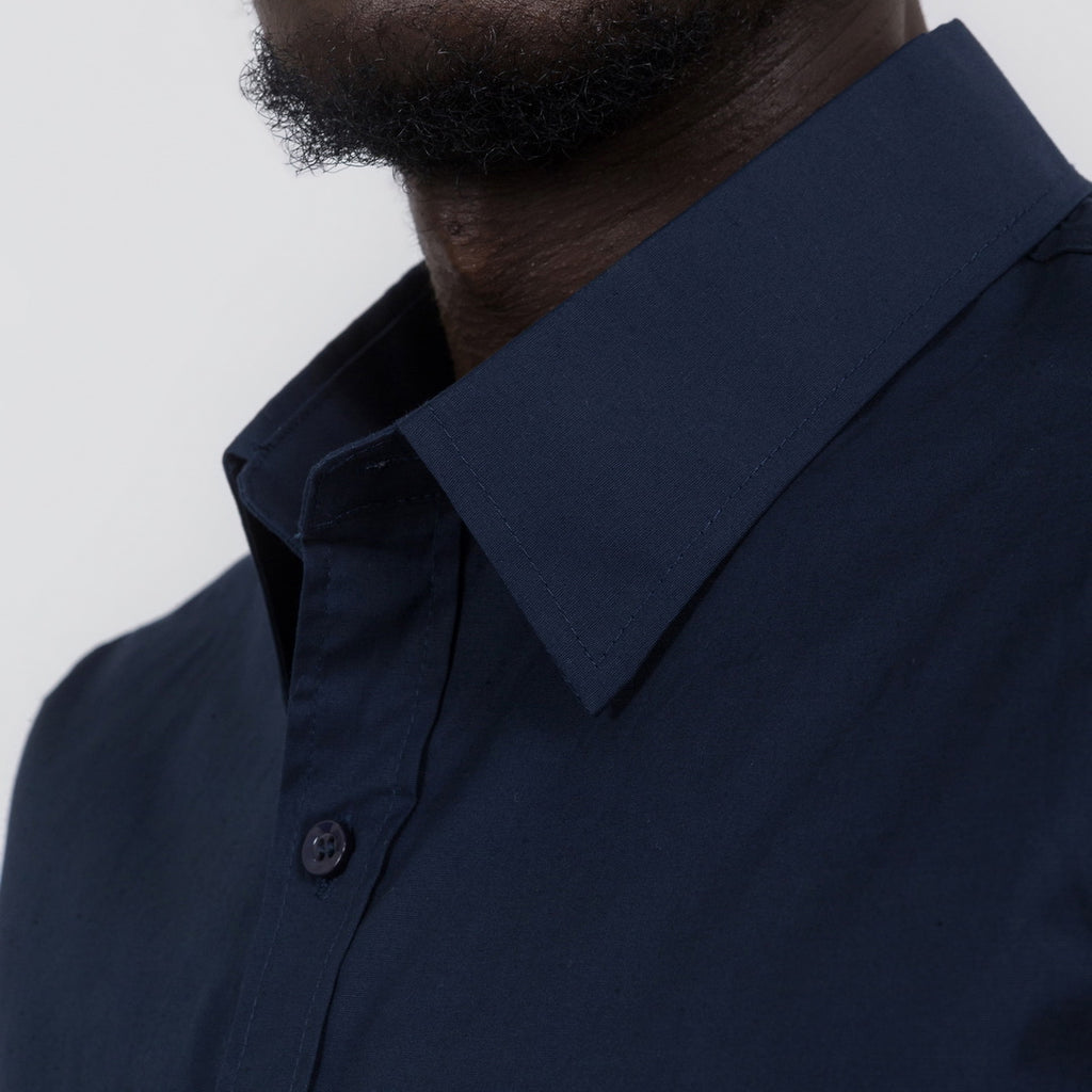 Plain Slim Fit Button Shirt In Navy