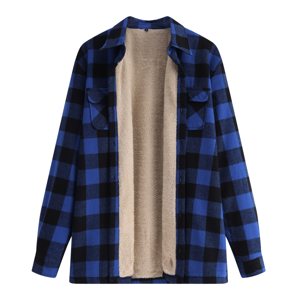 Plush Button Plaid Jacket In Blue