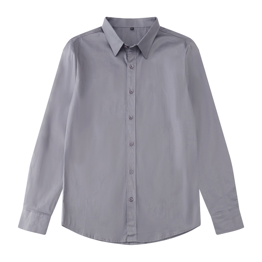 Plain Slim Fit Button Shirt In Gray