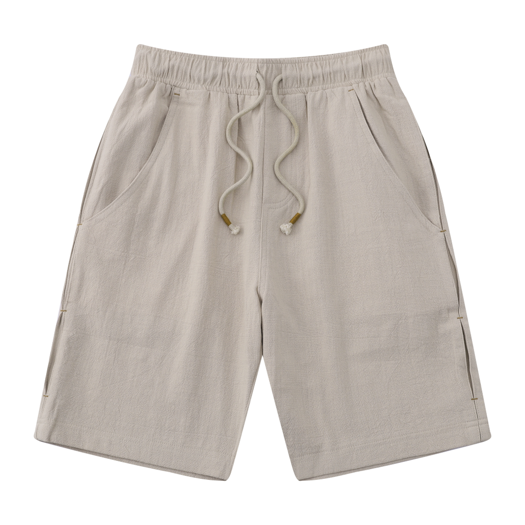 Casual Drawstring Linen Blend Shorts In Beige