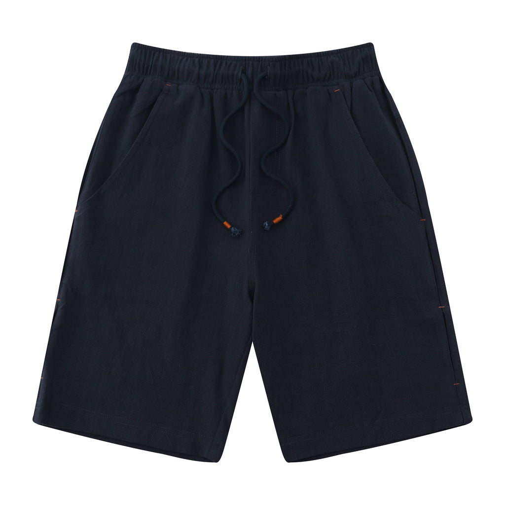Casual Drawstring Linen Blend Shorts In Navy Blue
