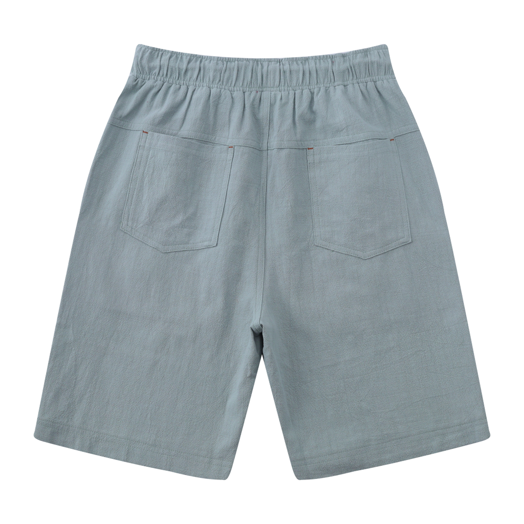 Casual Drawstring Linen Blend Shorts In Grey Blue