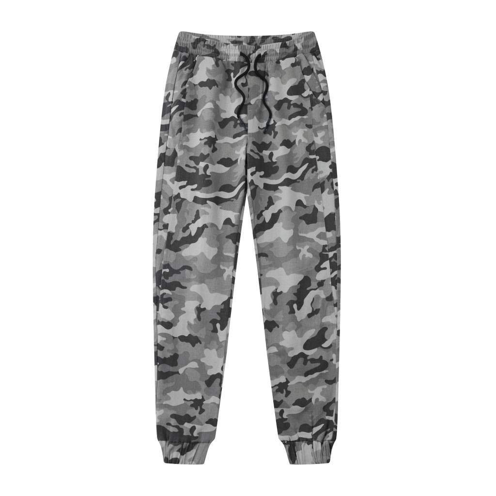 Comfortable Tapered Fit Joggers In Gray Camo
