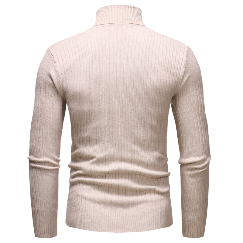 Knitted Roll Neck Sweater In Beige