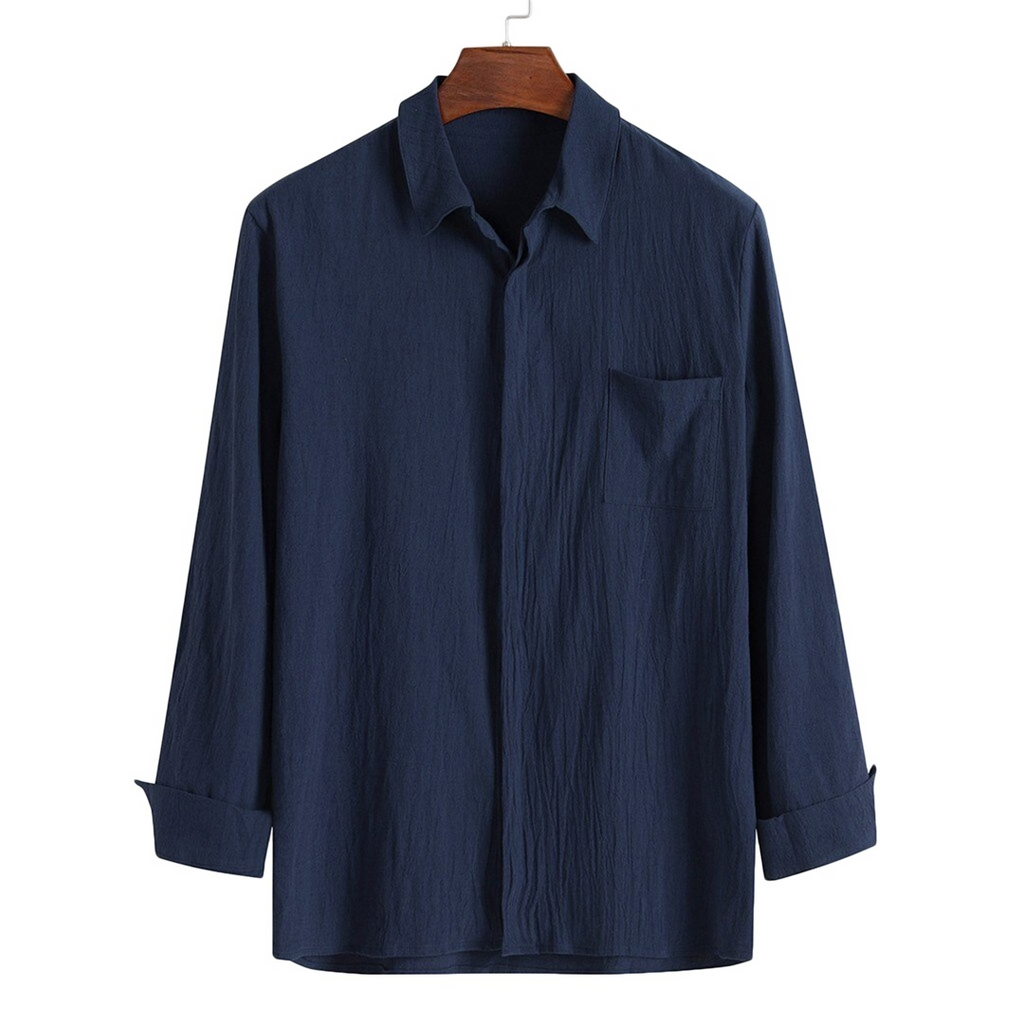 Light Button-Down Shirt In Navy Blue