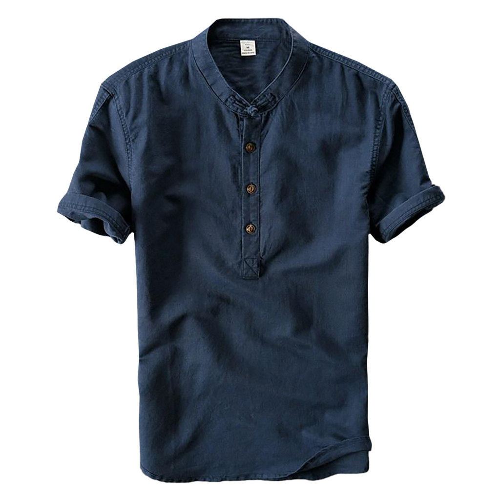 Mandarin Collar Shirt In Dark Blue