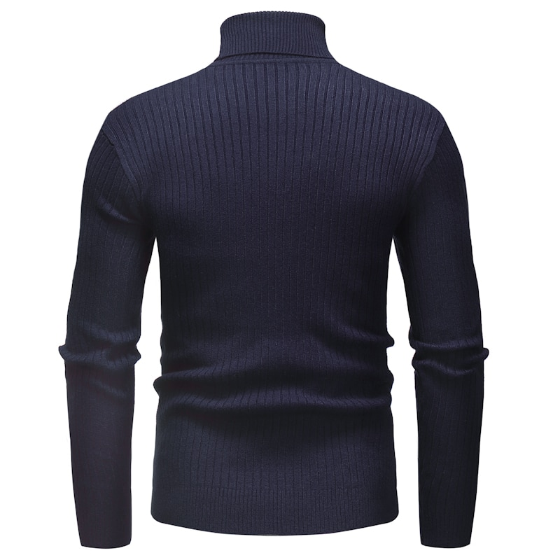 Knitted Roll Neck Sweater In Navy Blue