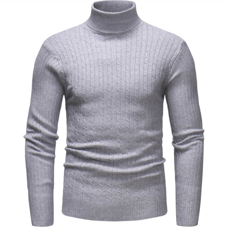 Knitted Roll Neck Sweater In Light Gray