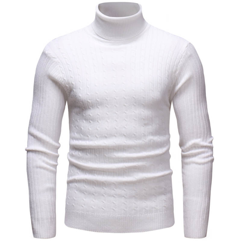 Knitted Roll Neck Sweater In White
