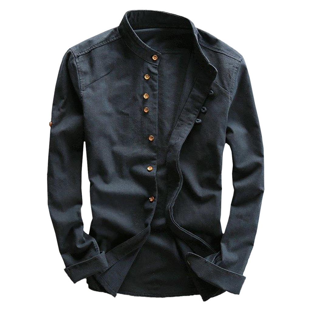 Long Sleeve Linen Blend Shirt In Dark Blue