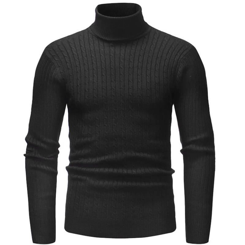 Knitted Roll Neck Sweater In Black