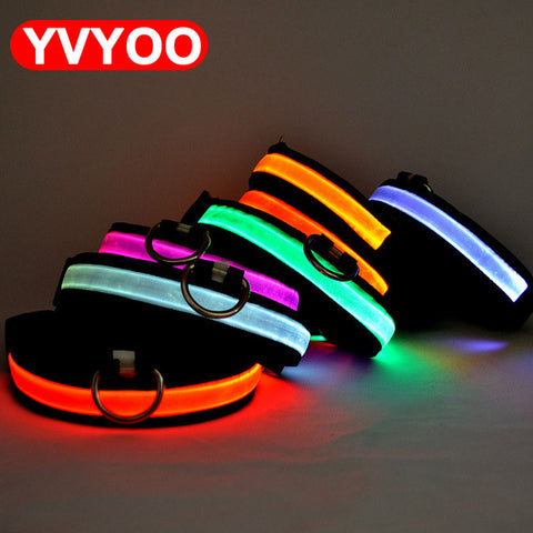 Coleira de Nylon e LED