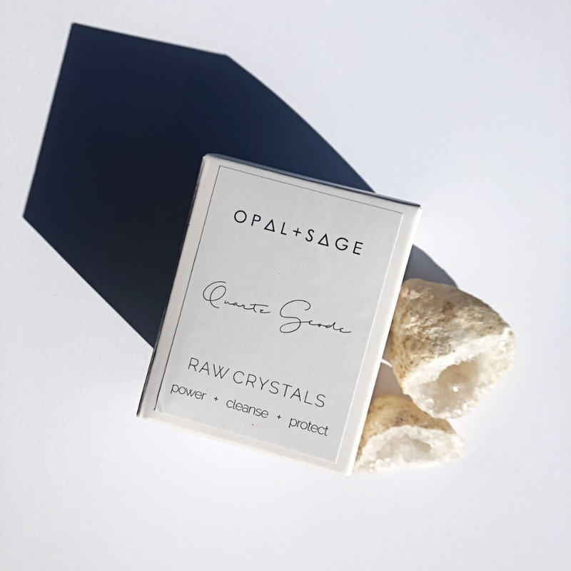 OPAL + SAGE - RAW CRYSTALS | QUARTZ GEODE