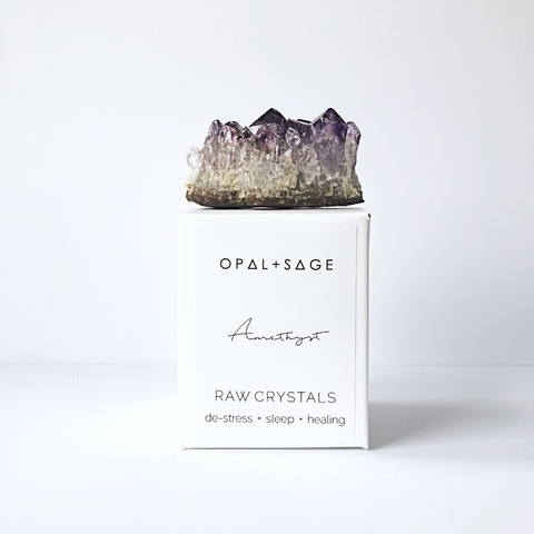 OPAL + SAGE - RAW CRYSTALS | BLUE CALCITE