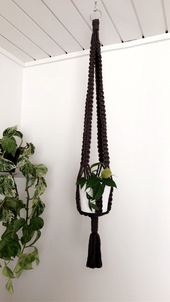 MACRAME POT HANGER | CHARCOAL