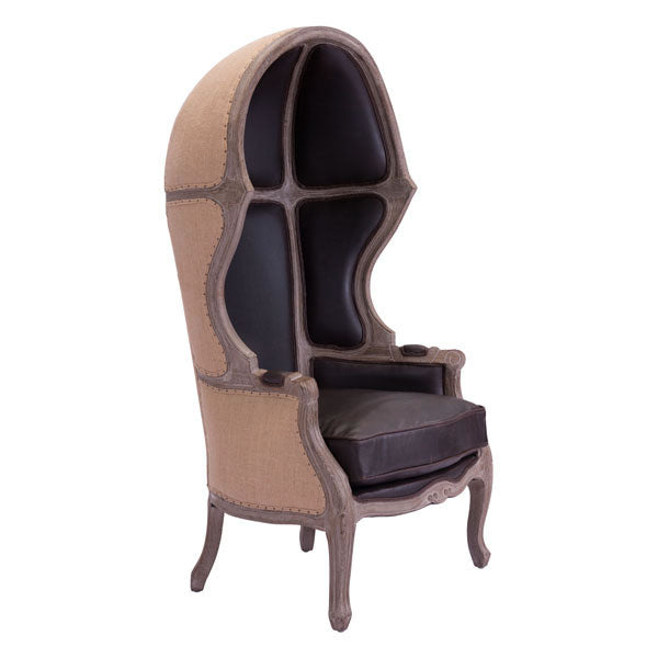 Chair Brown - Leatherette Fir Wood