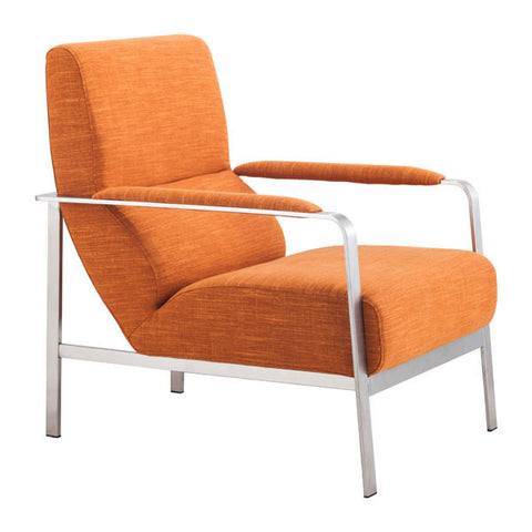 Arm Chair Orange - Polyblend Brushed Stainless Steel