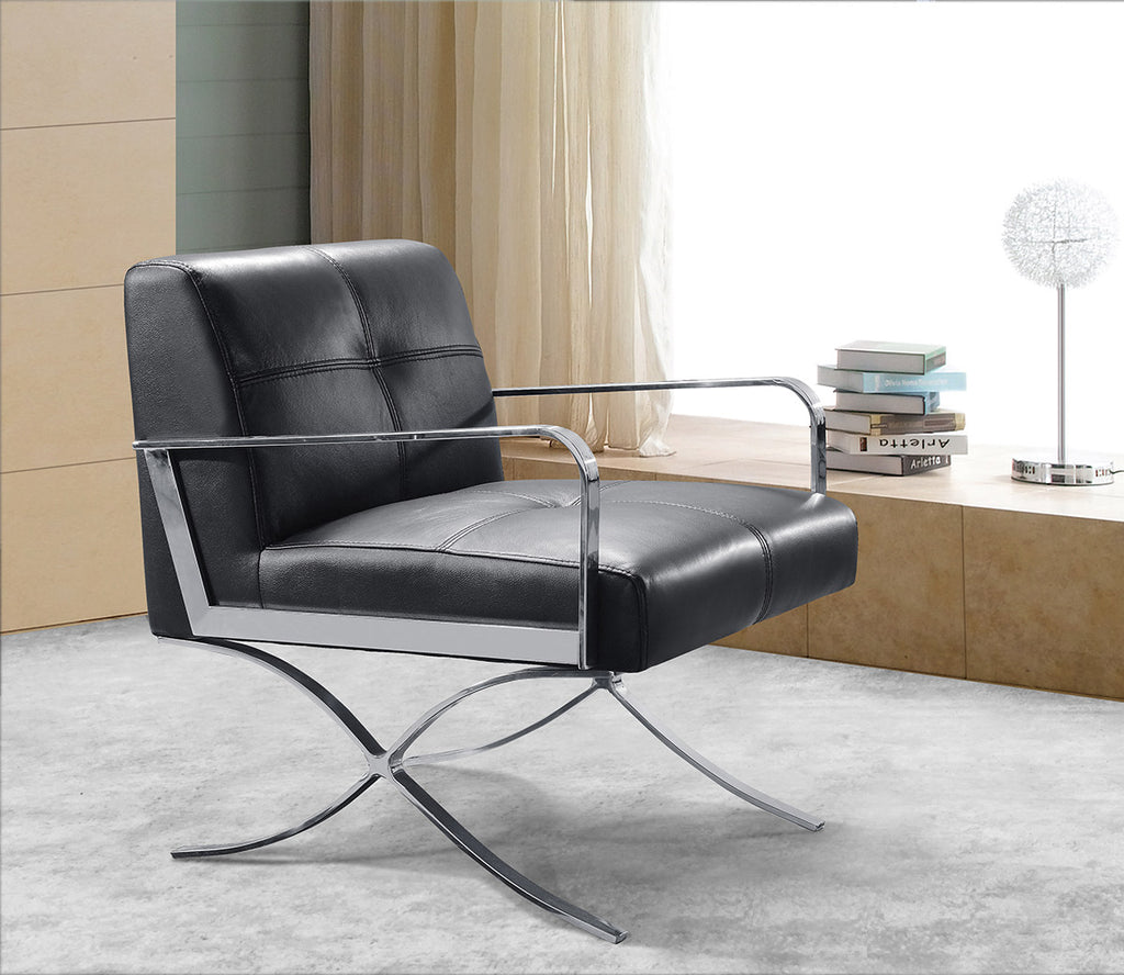 Modern Black Leather Lounge Chair
