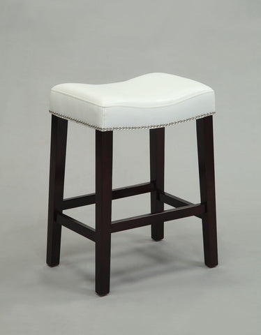 Counter Height Stool (Set-2), White PU & Espresso - Bycast PU, FR Foam, nail- White PU & Espresso