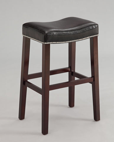 Bar Stool (Set-2), Black PU & Espresso - Bycast PU, FR Foam, nail- Black PU & Espresso