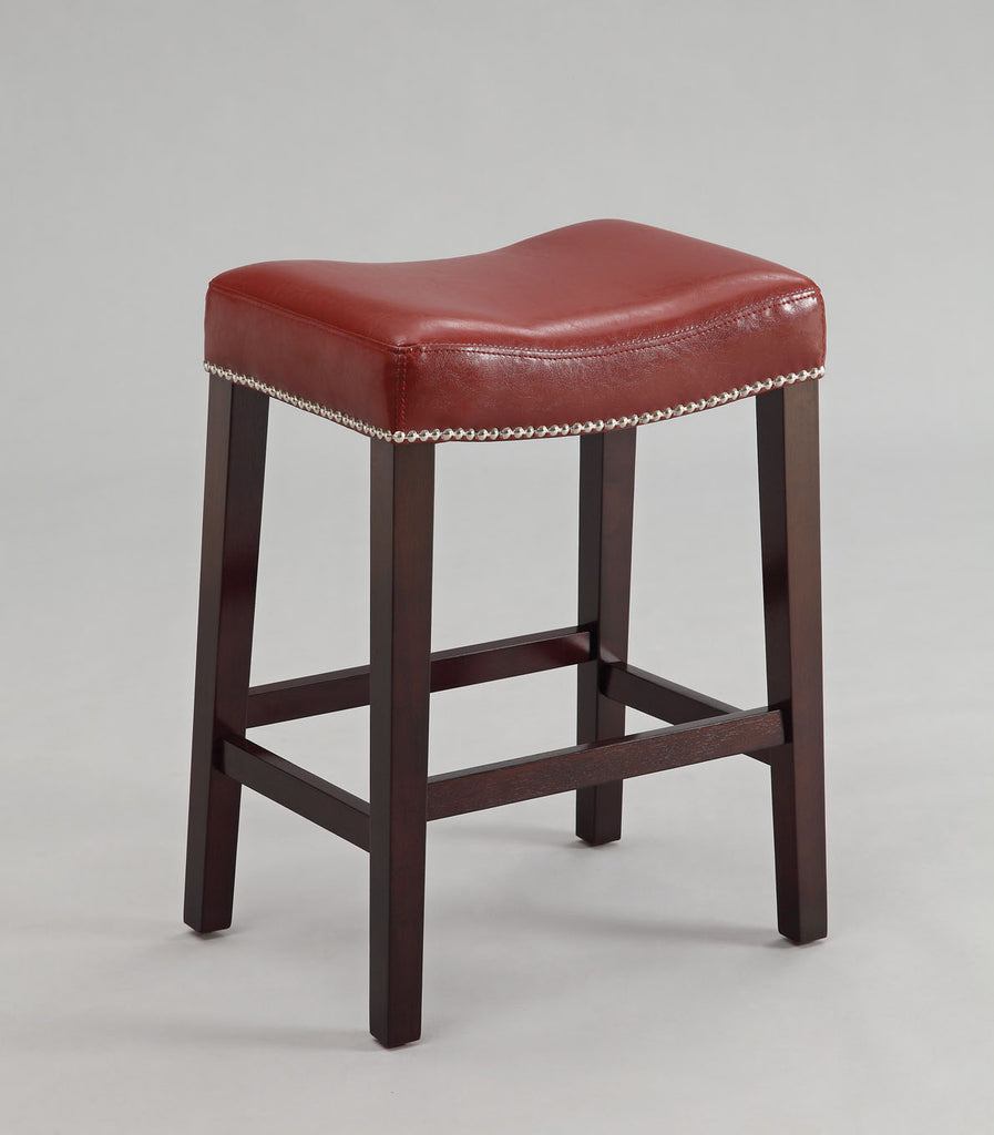 Counter Height Stool (Set-2), Red PU & Espresso - Bycast PU, FR Foam, nail- Red PU & Espresso