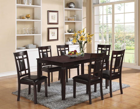7Pc Pack Dining Set, Espresso & Espresso PU - PU, Solid Wood, Birch Ven Espresso & Espresso PU