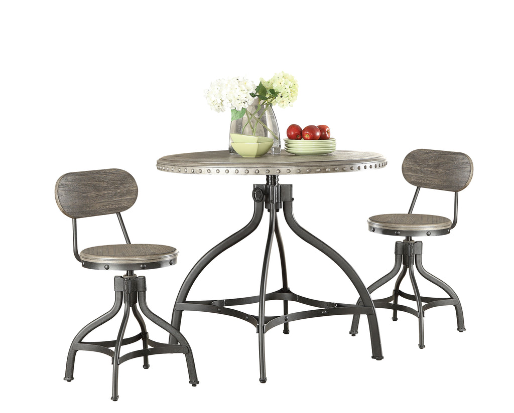 3 Piece Pack Adjustable Counter Height Dining Set in Gray Oak - Paulownia Wood Veneer, MD Gray Oak